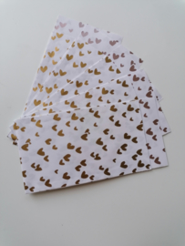 Cadeauzakje  duo hearts goud/rose  7x13 cm (S)