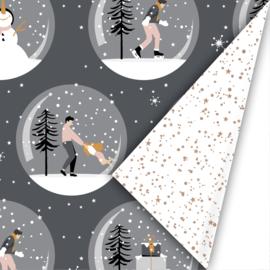 Dubbelzijdig inpakpapier magical Christmas grijs/roze