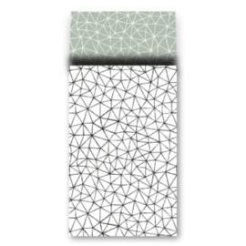 cadeauzakje wit met zwart subtiel grafische patroon  17x27 cm  (L)