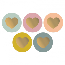 Set van 5 (sluit)stickers lovely colorful hearts