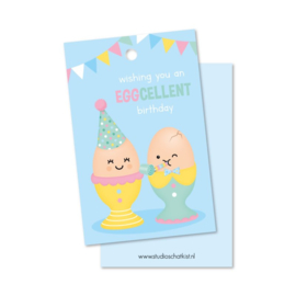 Cadeaulabel wishing you an EGGCELLENT birthday
