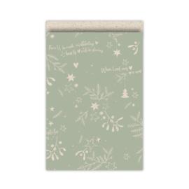 cadeauzakje mistletoe kisses  grasspaper/salie 17x25 cm