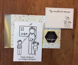 cadeauzakje met kaart, complimentblokje en sluitzegel voor de meester(DL)