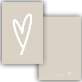 Minikaartje creme/beige met een wit hartje