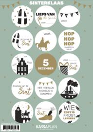 Stickervel Sinterklaas, 15 ronde sluit/cadeaustickers