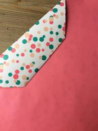 Inpakpapier confetti; rose en groen , dubbelzijdig