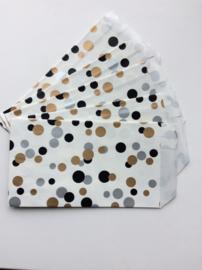 Wit cadeauzakje met zwarte, gouden en zilveren confetti  7x13 cm (S)