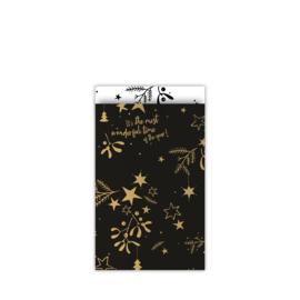 cadeauzakje mistletoe kisses  zwart/goud 12 x 19 cm