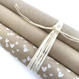 Inpakpapier kraft met bloemendessin; fine fleurs