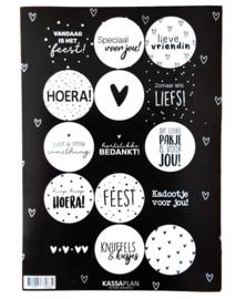 Stickervel zwart/wit  sluit-/cadeaustickers