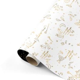 Dubbelzijdig cadeaupapier Sing along Sint wit/goud 50x300 cm