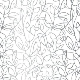Vloeipapier met zilverkleurige sierlijke bloemen prints, fine fleurs