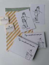 cadeauzakje met minikaart, complimentblokje en sluitzegel voor juf