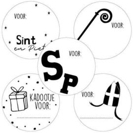 Set van 5 ronde cadeaustickers voor: Sinterklaas