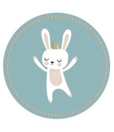 ronde mintgroene  sluitsticker bunny