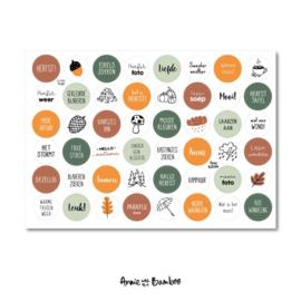 Stickervel cadeaustickers herfst  met  48 ronde (sluit)stickers