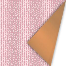 Dubbelzijdig inpakpapier New tracks Oudroze koper 50x 300 cm
