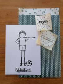 Ansichtkaart gefeliciteerd, voetballer.