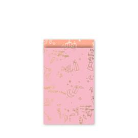 cadeauzakje  Sing a long Sint, roze/goud/neon 12 x 19 cm