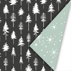Dubbelzijdig inpakpapier lovely trees zwart/wit/mint