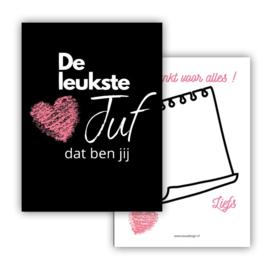 Dubbelzijdig minikaartje met hart de leukste juf dat ben jij! , zwart