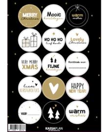 Stickervel kerst 15 ronde sluit/cadeaustickers