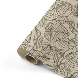 Dubbelzijdig inpakpapier lovely leave  50x 300 cm