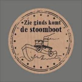 zie ginds komt de stoomboot ; sluitzegel voor Sinterklaas