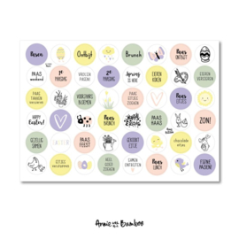 Stickervel Pasen met  48 ronde (sluit)stickers