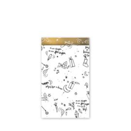 cadeauzakje  Sing a long Sint, wit/zwart/goud 12 x 19 cm