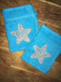 Washandje met glitter ster of hart met naam