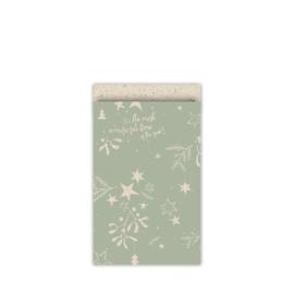cadeauzakje mistletoe kisses  grasspaper/salie 12 x 19 cm