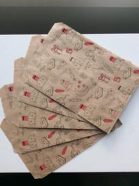 cadeauzakje kraft Sinterklaas 15x22 cm