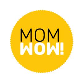 ronde sluitsticker geel met mom wow!