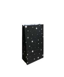 Kleine zwarte blokbodemzak met sterren