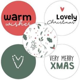 Set van 5 ronde (sluit) stickers warm wishes