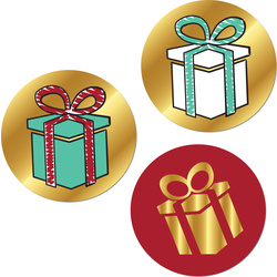 Set van 3 sluistickers met een cadeautje erop.