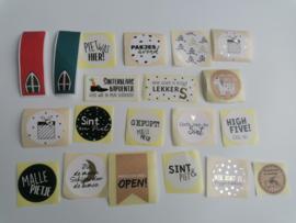 Stickerset van 20 stuks Verschillende sluitstickers, Sinterklaas