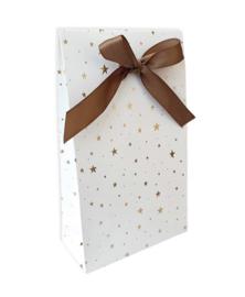 Luxe gift bag;  wit met gouden sterren