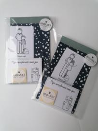 cadeauzakje met minikaart, complimentblokje en sluitzegel voor meester