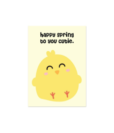 Ansichtkaart happy spring to you cutie