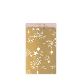 cadeauzakje mistletoe kisses goud/roze 12 x 19 cm