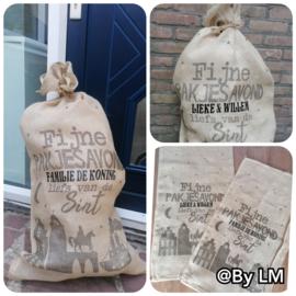Jute cadeau-zak  met naam voor pakjesavond, Sinterklaas