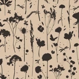 Inpakpapier grow kraft met zwarte bloemen, cadeaupapier