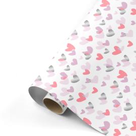 Dubbelzijdig inpakpapier Duo hearts neon roze zilver 50x 300 cm