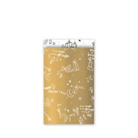 cadeauzakje  Sing a long Sint, goud/wit/zwart 12 x 19 cm