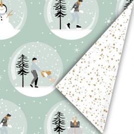 Dubbelzijdig inpakpapier magical Christmas mint/goud