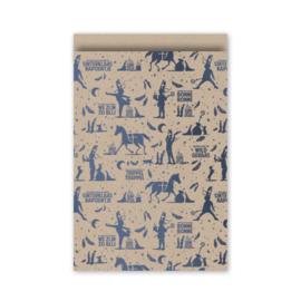 cadeauzakje  Sint 2020, kraft/metallic blauw 12 x 19 cm