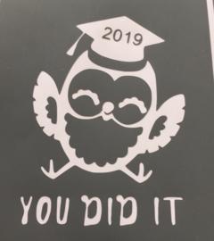 glas met uiltje en you did it 2019 ; geslaagd