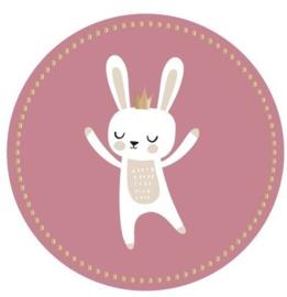 ronde rose sluitsticker bunny